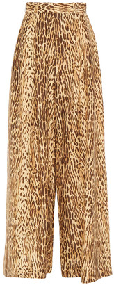 Zimmermann Espionage Leopard-print Silk Wide-leg Pants