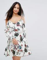 AX Paris Cream Long Sleeved Floral Printed Cold Shoulder Dress
