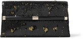 Diane von Furstenberg 440 Envelope Sequined Satin Clutch - Black