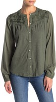 Lucky Brand Floral Embroidered Yoke Blouse