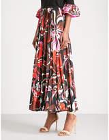 Emilio Pucci Signature-print high-rise satin midi skirt