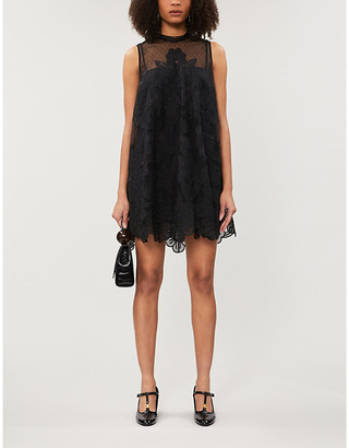 RED Valentino Floral-embroidered crepe mini dress
