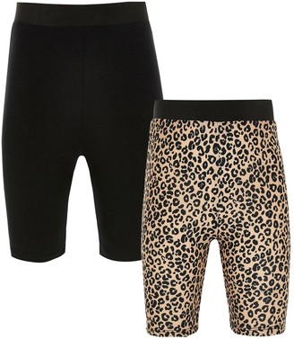 River Island Girls 2 Pack Leopard Cycling short set-Multi