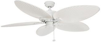 """Honeywell 52"""" Palm Island White Ceiling Fan With Palm Blades"""