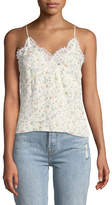 Rebecca Taylor Sleeveless Vine-Print Lace Camisole