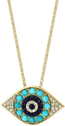 Effy 14K Yellow Gold Turquoise, Black Sapphire & Diamond Evil Eye Pendant Necklace