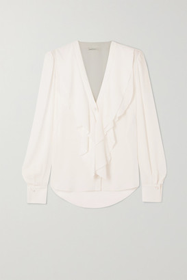 Alexander McQueen Ruffled Silk-crepe Blouse - White
