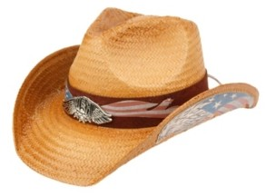 Epoch Hats Company Angela & William Cowboy Hat with Eagle Badge and American Flag Trim Band