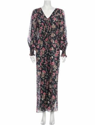 Vilshenko Floral Print Long Dress Grey