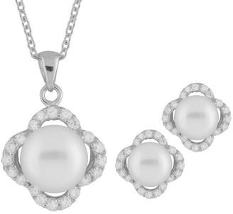 Splendid Pearls Rhodium Over Silver 8-9Mm Pearl Necklace & Earrings Set