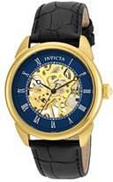 Invicta Specialty Men's Mechanical Watch with Blue Dial Analogue Display and Black Leather Strap - 23536