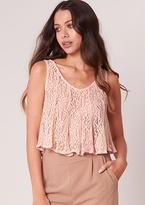 Missy Empire Jonna Pink Crochet Swing Cami Crop Top
