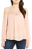 Jolt Lace Cold Shoulder Blouse
