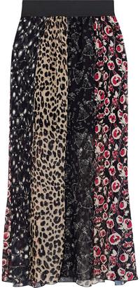Anna Sui Paneled Printed Plisse Silk-chiffon Maxi Skirt