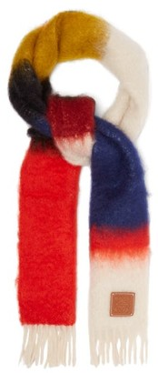Loewe Anagram Logo-patch Mohair-blend Scarf - Womens - Red