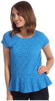 Vince Camuto Cap Sleeve Peplum Lace Top (Malibu Blue) - Apparel
