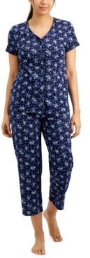 Charter Club Plus Size Printed Cotton Cropped Pajama Pants Set, Created for Macy's