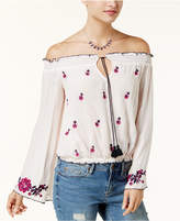 American Rag Juniors' Embroidered Off-The-Shoulder Peasant Top, Created for Macy's