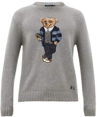 Polo Ralph Lauren Bear-embroidered Cotton-knit Sweater - Mens - Grey