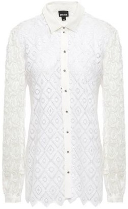 Just Cavalli Fil Coupe Tulle-paneled Macrame Lace Shirt