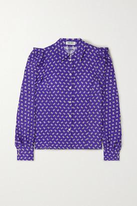 Kenzo Ruffled Printed Crepe Shirt - Purple