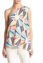 Trina Turk Ezmeralda One-Shoulder Silk Top