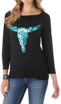 Wrangler Foil Steerhead Knit Shirt - 3/4 Sleeve (For Women)