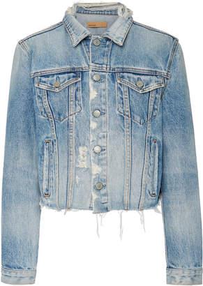GRLFRND Denim Cara Cropped Frayed Denim Jacket Size: XS