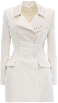 DANIELLE FRANKEL Double Breasted Silk Faille Jacket Dress