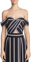 Alice + Olivia Annalyn Off-the-Shoulder Striped Cropped Top