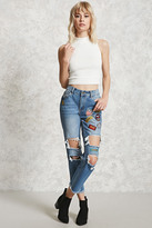 Forever 21 FOREVER 21+ Patch Distressed Boyfriend Jeans
