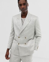 Asos DESIGN boxy double breasted suit jacket in silver jacquard