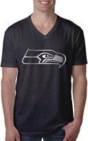 ZSHIWENH Men's Seattle Seahawks Platinum Logo V-Neck T-shirt