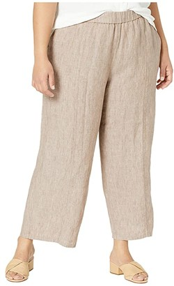 Eileen Fisher Plus Size Washed Organic Linen Delave Pull-On Cropped Pants (Khaki) Women's Casual Pants