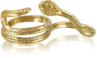 Two Fingers Bronze Ring w/2 Laps Snake
