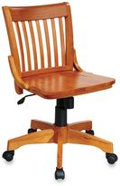 Office Star Products Deluxe Armless Wood Banker's Desk Chair with Wood Seat in Fruitwood