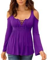 Q&Y Women's Off Shoulder Bandage Lace Up Neck Long Sleeve Tees T-shirt Blouse Tops M