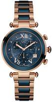 GUESS Women's GC Rose Gold & Blue Ceramic Timepiece
