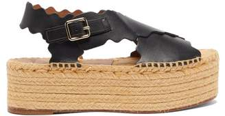 Chloé Scalloped Leather Flatform Espadrilles - Womens - Black