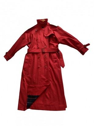 Burberry Red Cotton Trench Coat for Women Vintage