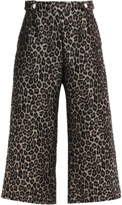 Mother of Pearl Flynn Cropped Embellished Leopard-jacquard Wide-leg Pants