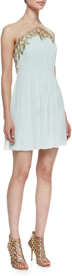 Phoebe Feather & Chiffon Grecian Cocktail Dress