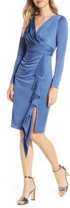 Eliza J Long Sleeve Faux Wrap Knit Dress