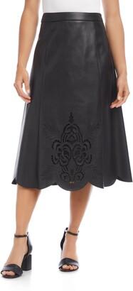 Karen Kane Faux Leather Midi Skirt