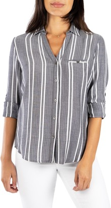 KUT from the Kloth Stripe Cotton Blend Roll-Tab Shirt