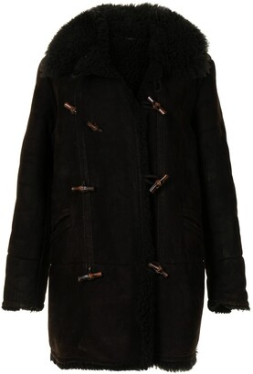 Gucci Pre-Owned Shearling Lapel Toggle Fastening Coat