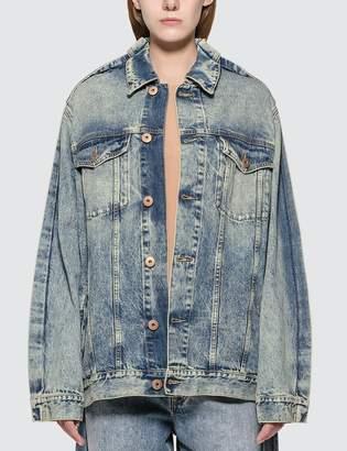 Maison Margiela Blue Denim Jacket With Fold Detail