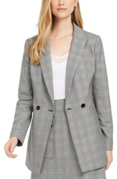 Calvin Klein X-Fit Slim-Fit Plaid Double-Breasted Blazer