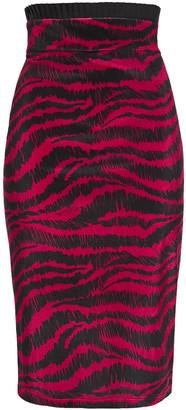 Just Cavalli Zebra-print Stretch-velvet Pencil Skirt