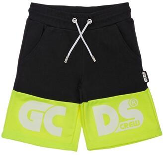 GCDS Logo Printed Cotton Sweat Shorts